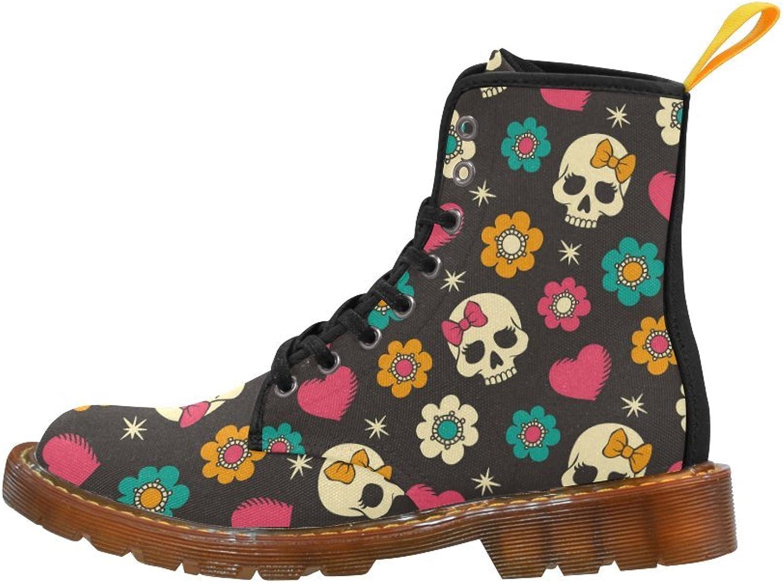 Your-fantasia Skull Art Flowers Cool Girl's Canvas Boots for Women Black