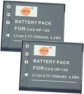 DSTE 2-Pieza Repuesto Batería para Casio NP-120 Exilim EX-S200 EX-S200BE EX-S200BK EX-S200EO EX-S200PK EX-S200SR EX-S300 EX-Z31 EX-Z680 EX-Z690 EX-ZS10 EX-ZS10BE EX-ZS10BK EX-ZS10PK EX-ZS10RD