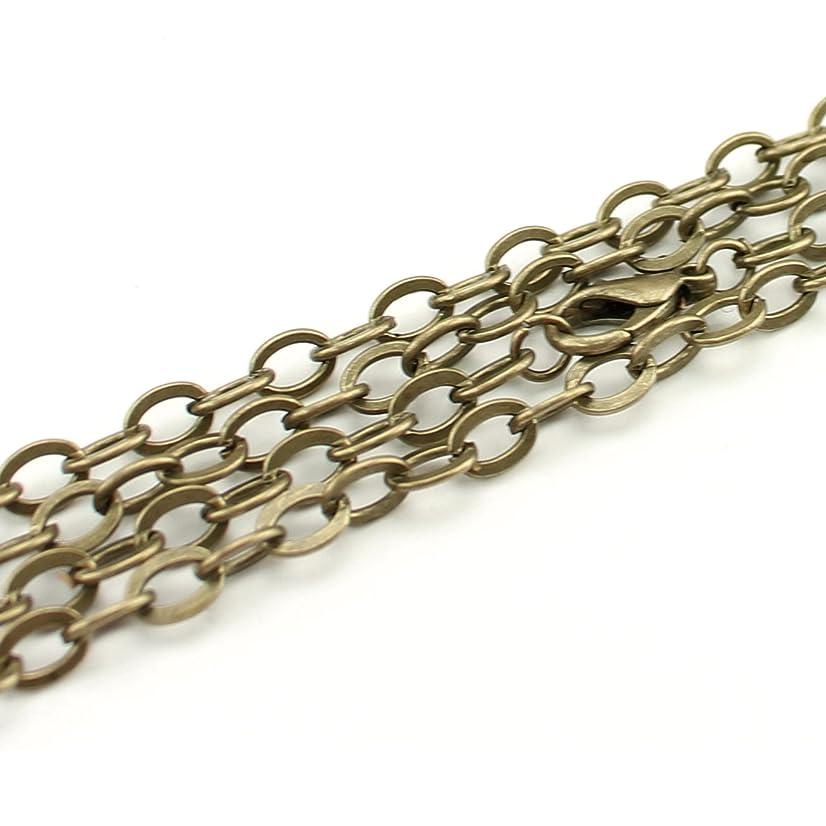 CleverDelights 5 5x7mm Flat Oval Link Necklaces - Antique Bronze Color - 24