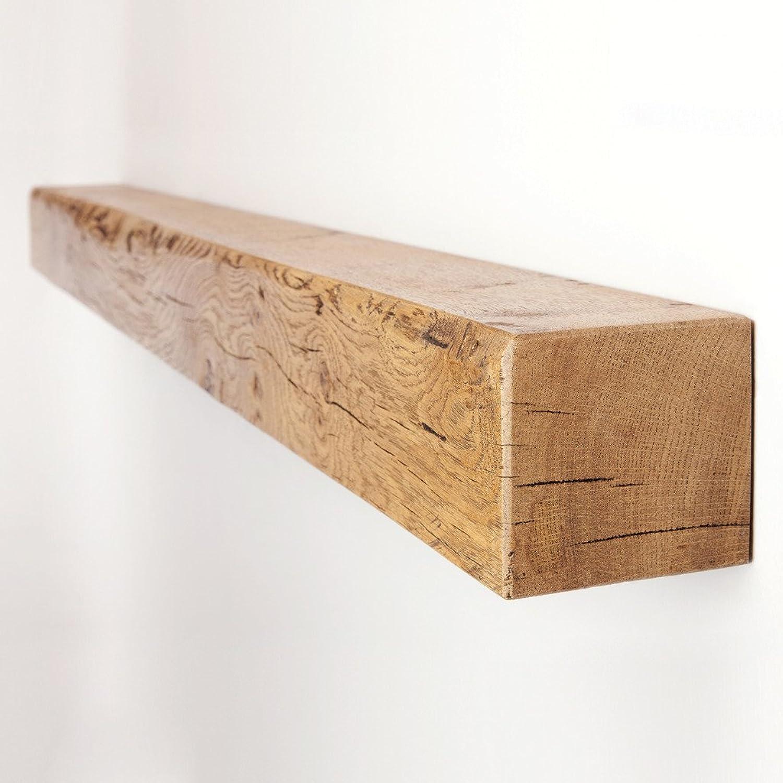Funky Chunky Furniture 4x4 Solid Reclaimed Oak Floating Mantel Shelf, English Oak, 60cm