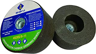 SIGNI 4 Inch Green Grinding Stone with 5/8-11 Thread (1 Pack,80 Grit,4X2X5/8-11)