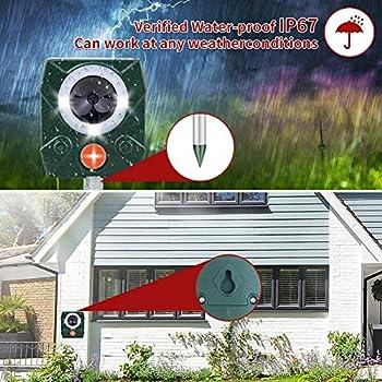 AWLGAK Lot de 2 répulsifs solaires pour chat avec alarme pour chats, chiens, oiseaux, renards, jardin et ferme