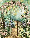 Gofission Paint by Numbers Garden Flowers Birds, 40,6 x 50,8 cm Lienzo DIY Numérico Kit de pintura (jardín, sin marco)