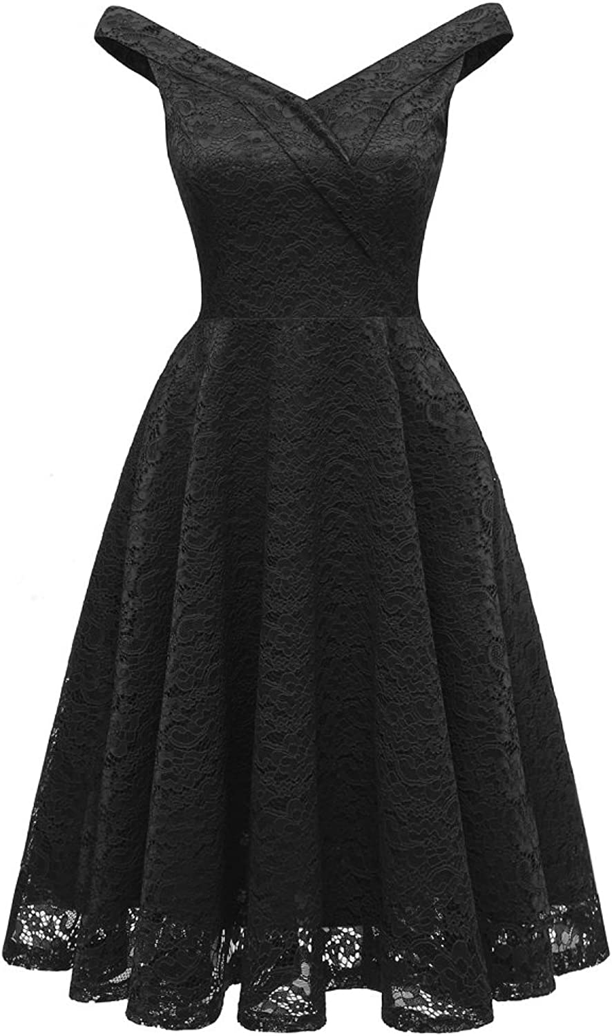 BILIKE Off Shoulder V Neck Vintage Swing Floral Lace Cocktail Party Dress