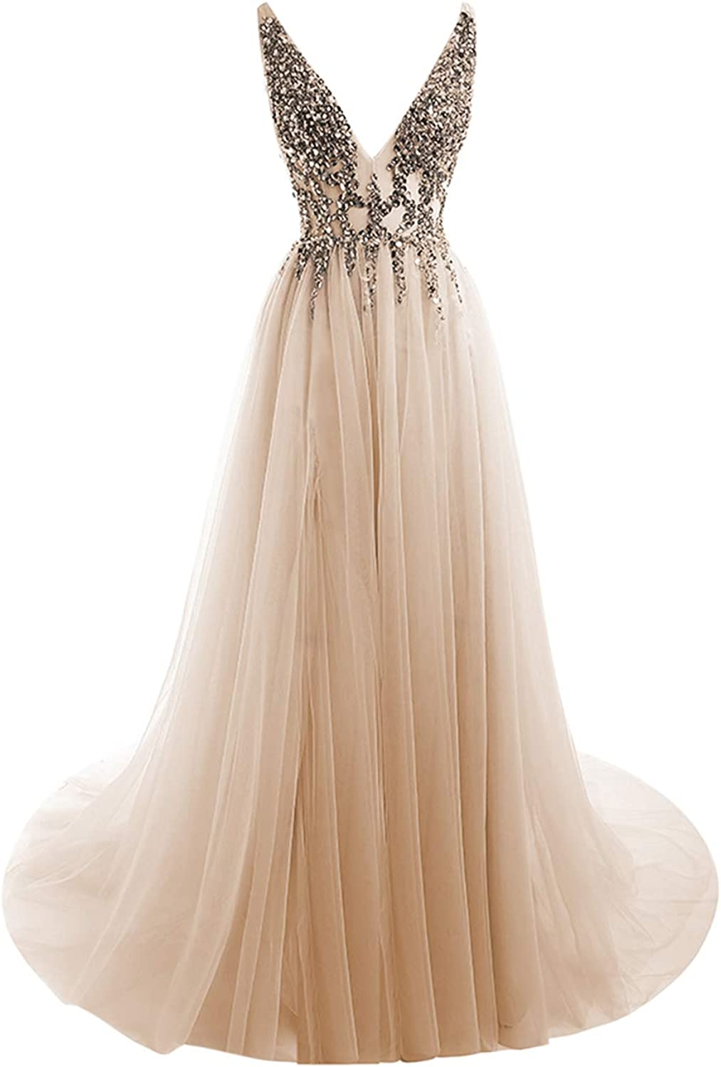 HONGFUYU Evening Dresses 2018 Sexy VNeck Crystal Beading Open Back Long Prom Gowns HFY103ChampagneUS8