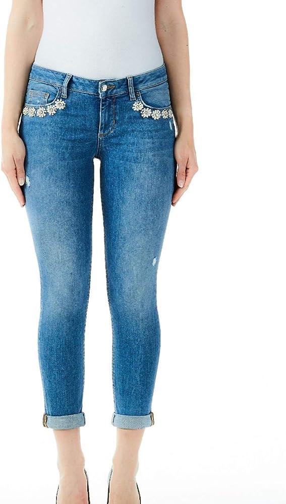 Liu jo jeans slim fit,jeans con inserti in strass per donna, UA0006D4439