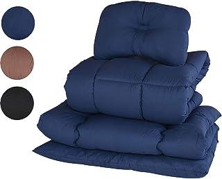 [山善] 布団セット 4点 シングル 抗菌消臭 きめ細やか ピーチスキン加工 (掛け布団 敷き布団 枕 収納ケース) ネイビー YEF-4XSP1(NV)