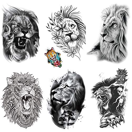 Yesallwas 6 Sheets Lion Temporary Tattoo Sticker Fake Tattoos Lion for women Men Models,waterproof Long Lasting Body Art Makeup Lion Half Arm Tattoos 5.9x8.26inche