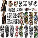 Qpout 30Hojas tatuajes temporales para hombres/mujeres, 12 tatuajes a prueba de agua de brazo completo grande 10 tatuaje de medio brazo 8hojas para niños tatuaje pegatina calavera mandala flor tatuaje