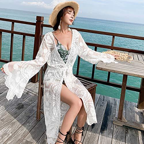 YYH gebreide damesjas chiffon sjaal lange kimono cardigan tops vertukking blouse badmode cover up Eén maat 1