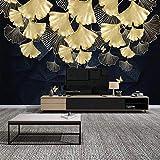 LHGBGBLN Papel tapiz mural para sala de estar 3D, planta dorada, hoja, sofá, fondo, pegatinas de pared, papel tapiz para dormitorio, decoración de arte de pared