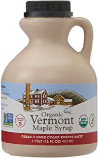 Hidden Springs Maple Organic Vermont Maple Syrup, Grade A Dark Robust (Formerly Grade B), 16 Ounce, 1 Pint, Family Farms, ...
