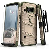 ZIZO Bolt Series Samsung Galaxy S8 Case Military Grade Drop Tested with Tempered Glass Screen Protector, Holster Desert TAN CAMO Green