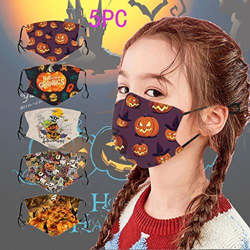BINMUO Kinder Mundschutz Multifunktionstuch 3D Cartoon Druck Maske Animal Print Halloween Baumwolle Stoffmaske Waschbar Mund-Nasen Bedeckung Tiermotiv Bandana Halstuch Jungen Mädchen (5PC-F)