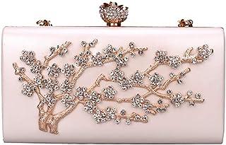 Diebellau Women's Diamond Handbag Clutch Bag Chain Bag Ladies Diner Bag Shoulder Bag Messenger Bag (Color : White)