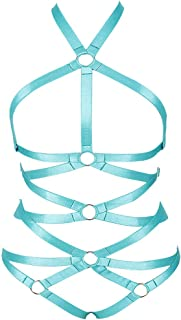 MAMOHSS Women Elastic Strappy Full Cage Body Harness Lingerie Belts Set Waist Hollow Crop Punk Gothic Festival Wear (Jade ...