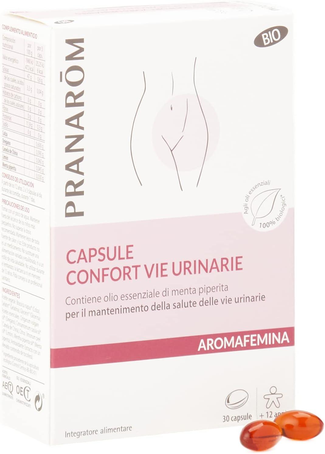 Pranarom - Aromafemina - Cápsulas Confort Vías Urinarias Bio, 30 Cápsulas