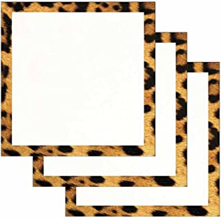 Leopard Print Border Sticky Notes - Set of 3 - Wildlife Animal Theme Design - Stationery Gift - Paper Memo Pad - Office and School Supplies
