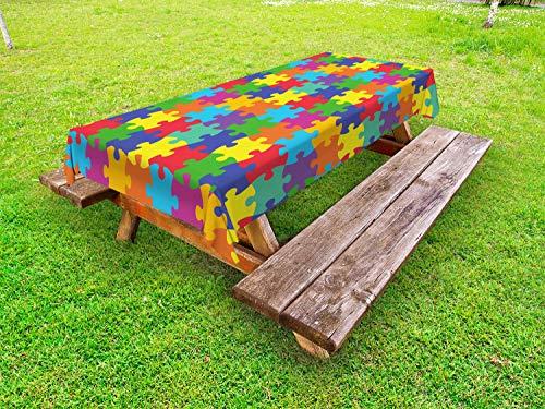 ABAKUHAUS Kleurrijk Tafelkleed voor Buitengebruik, Puzzel Parts Afbeelding, Decoratief Wasbaar Tafelkleed voor Picknicktafel, 58 x 120 cm, Veelkleurig