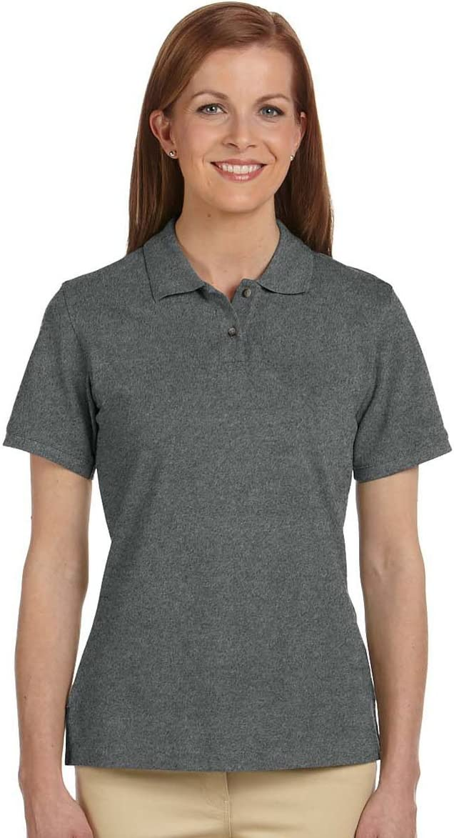 Harriton Women's Horn-Style Buttons Short Sleeve Polo Shirt CHARCOAL S M200W