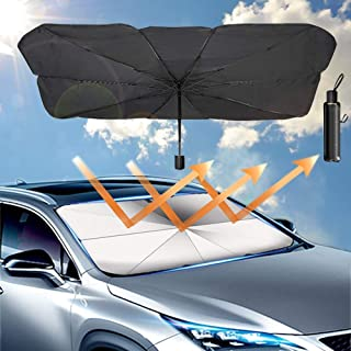 Car Umbrella Sun Shade Cover, Foldable Sun Shades Car for Windshield Parasol to Keep Your Vehicle Cool and Damage Free, Bl...