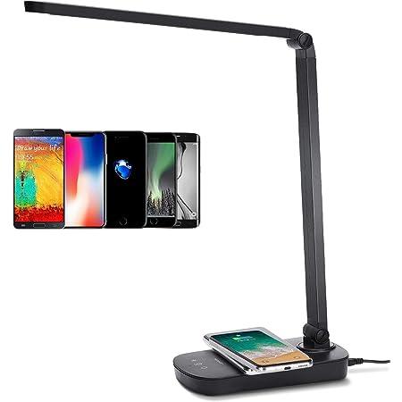 Lampe de Bureau LED, Avec Base Chargement Sans Fil . 3 Modes de Couleur, Gradation en Continu, Contrôle Tactile, 5W, Noire