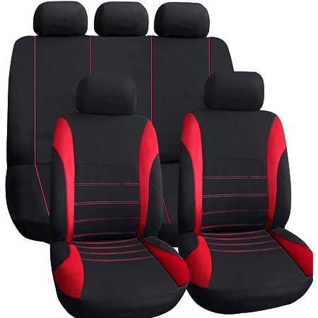 Kkmoon Universal Autositzbezüge 9 Teilig Zusammenklappbar Sitzauflage Rot Auto