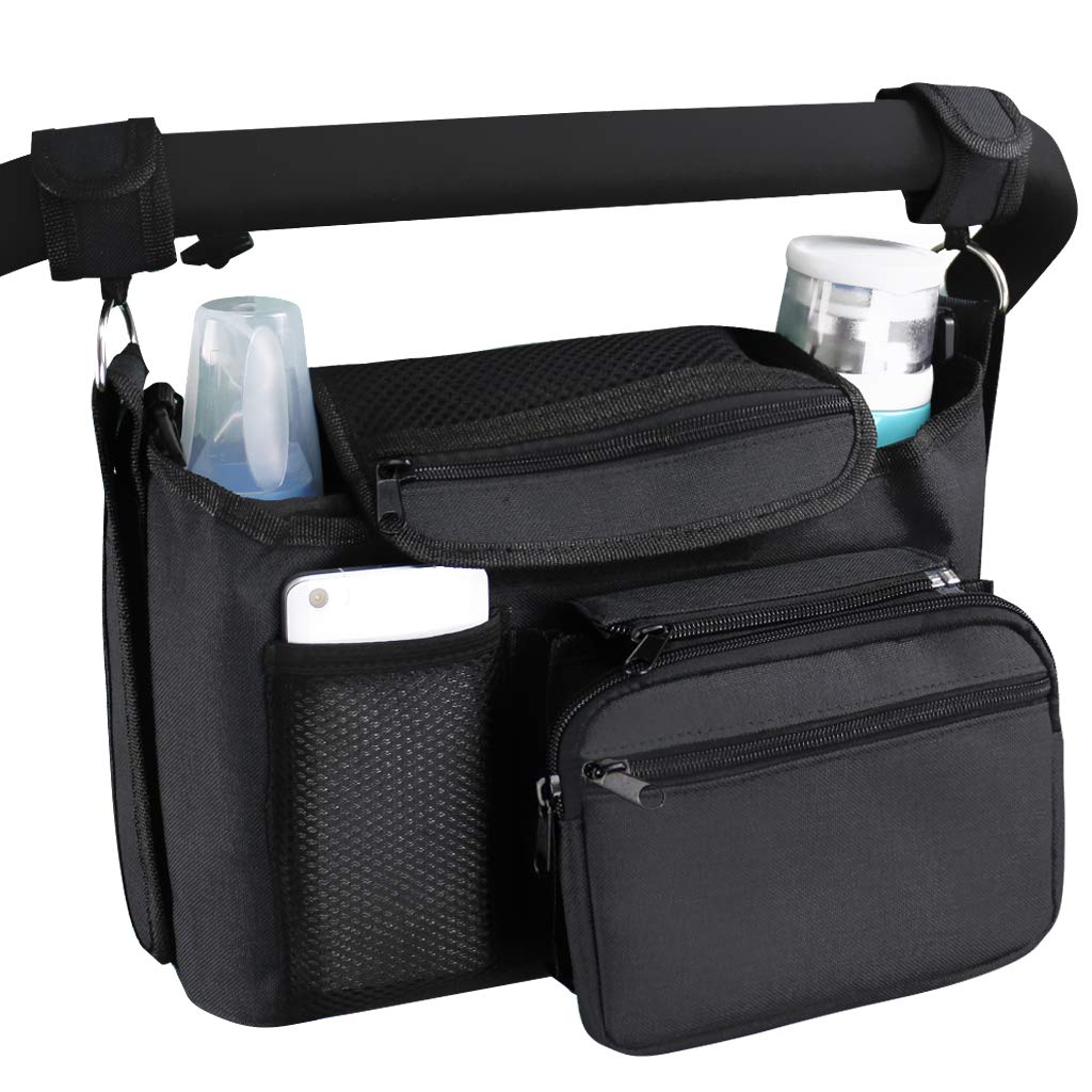 VIMUKUN Stroller Organizer Non-Slip Stroller Cup Holder Baby Travel Accessories - Stroller Accessory for Smart Parents with Shoulder Strap, Compatible with Uppababy, BOB, Baby Jogger (Black)