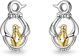 Penguin Stud Earrings Sterling Silver Two-tone Cute Polished White Gold Plated Penguin Post Earrings Jewelry for Women Girls Kids