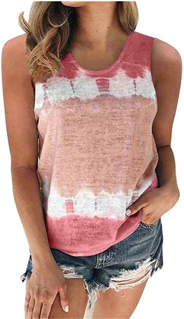 AODONG Tank Tops for Women Trendy, Womens Tie-Dye Shirts Summer Sleeveless Tees Round Neck Loose Blouses Pullover Tshirt