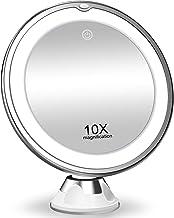 آینه آرایش ذره بین 10 برابر با چراغ ، لوازم آرایشی و بهداشتی قابل حمل با چراغ روشنایی ، چرخش 360 درجه و جام مکش قدرتمند ، مناسب برای سفره ، حمام و مسافرت