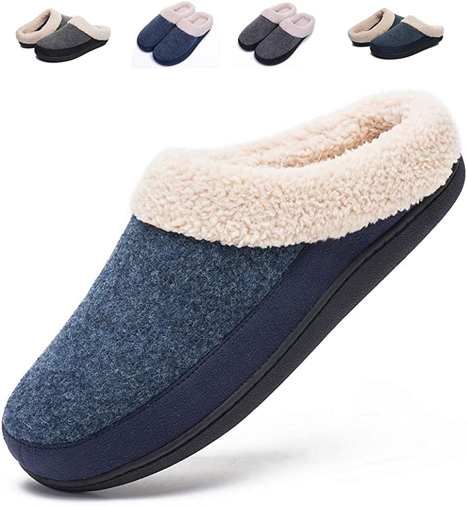 FOOTTECH Women's Clog House Slippers Memory Foam Anti-Slip Indoor Shoes for Winter