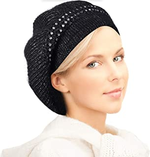DENOTA French Beret for Women Winter Raspberry Berets Knit Beanie Crochet Hat BR014