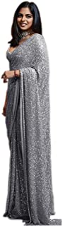 Ultimate Ecommerce Women's Sana Silk Grey Sequin Cocktail Saree