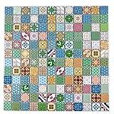Keramikmosaik, Retro, Vintage, bunt, matt, 2,3x2,3x0,5cm, 1Krt=11 Tafeln, MOH319