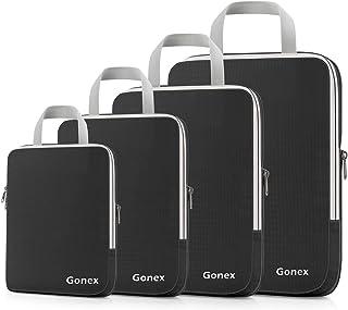 Gonex Compression Packing Cubes, 4pcs Expandable Storage Travel Luggage Bags Organizers(Black)