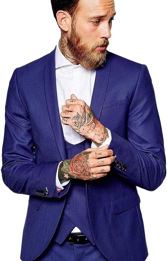 Shawl Lapel Men's 3 Pieces Business Suit Groom Tuxedo Wedding Suit (Jacket+Pant+Vest)