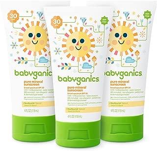 Babyganics Baby Sunscreen Lotion, SPF 30, 4oz Tube (Pack of 3)