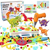 WISESTAR 303PCS Electric Drills Puzzle Toy Set for Kids, 3D Design Creative Mosaic Drill Set STEM Toy with Screw Driver, Trendy Bits, Building Blocks for Boys Girls Age 4-8 8-12