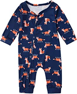 Xifamniy Newborn Kids Crew-Neck Polyester Jumpsuit with Adorable Cartoon Fox Pattern Design