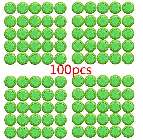 Justfund 100pcs Vert EVA enfants Toy Gun Bullet Fléchettes à tête ronde Blasters doux disque pour Nerf Vortex munitions Recharges