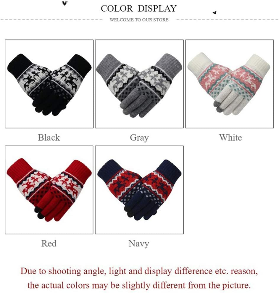 Fawn Christmas Plus Velvet Touch Screen Gloves Female, Winter Warm Knitted Wool Outdoor Riding Cold Gloves