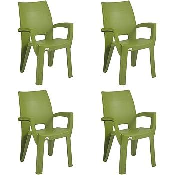 Supreme Villa Plastic Chair(Mehandi Green)(Set of 4)