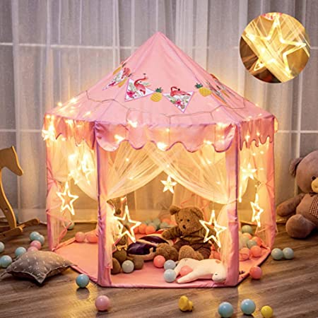 キッズテント 女の子のおもちゃハウス 可愛い子供用テントハウス プリンセスの城型 折り畳み式 キラキラLEDスターライト付き 知育玩具 秘密基地 室内遊具 簡単に組立 お誕生日 出産祝い クリスマスプレゼント おままごと Monobeach(ピンク)