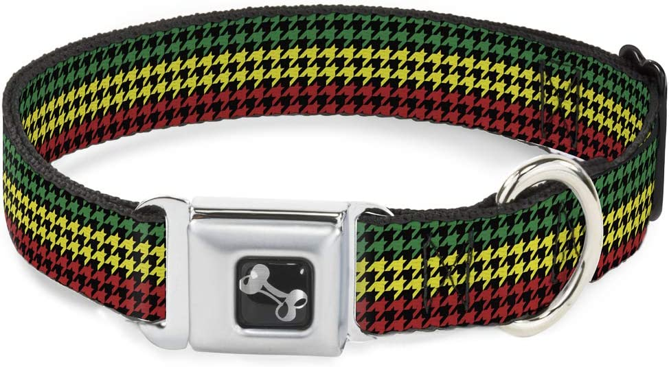 Buckle-Down Seatbelt Max 79% OFF Buckle Dog Collar Rasta Cheap mail order specialty store Black - Houndstooth