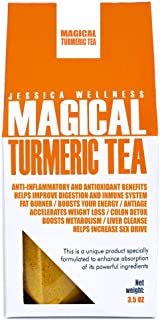 Jessica Wellness Magical Turmeric Curcumin Tea - Organic Turmeric Curcumin With Bioperine | 50 Servings | 9000 Times More Powerful Than Turmeric From India | Improve Skin and Healt