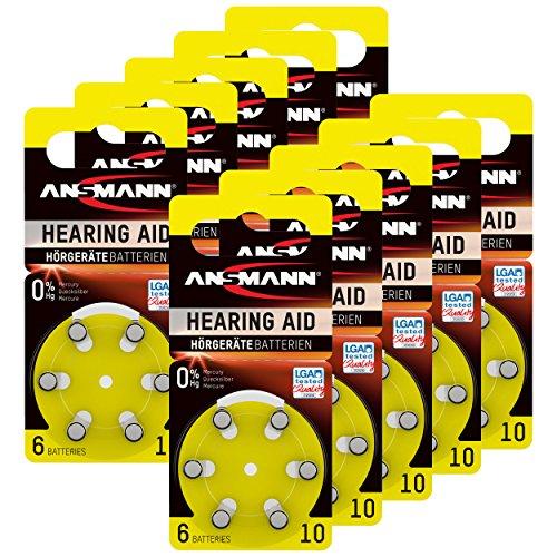 ANSMANN hoorapparaatbatterijen 10 zink lucht 1,4 V 5013223 hoorapparaten knoopcel batterij - bijzonder lange looptijd 10 x 6 stuks (60 stuks). Größe 10 geel