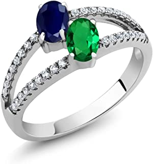 925 Sterling Silver Blue Sapphire and Green Simulated Emerald 2-Stone Women's Ring 1.36 Ctw (Available 5,6,7,8,9)