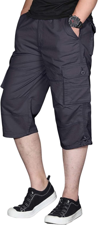 EKLENTSON Men's Long Outstanding free shipping Shorts Elastic Knee Below Capr Cargo