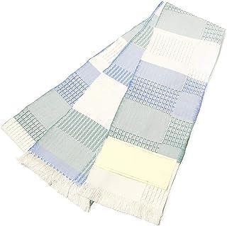 [でぃあじゃぱん] 半幅帯 米沢 宝来織 オフ白 青 緑 変わり織り 長尺 正絹 日本製 伝統工芸 四寸 細帯